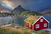 stock photo of reining  - Image of fishing village Reine on Lofoten Islands in  Norway - JPG