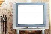 picture of televisor  - old CRT TV with cut out screen in home - JPG