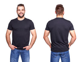 picture of apparel  - Black t shirt on a young man template on white background - JPG