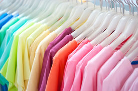stock photo of colore  - A row of colorful row t - JPG