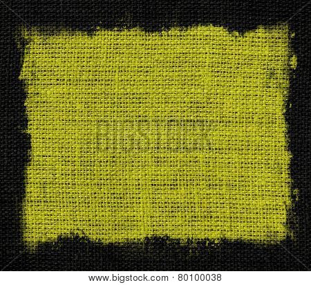 lime green burlap jute fabric canvas background with black frame