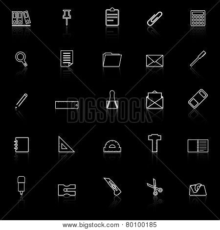 Stationery Line Icons With Reflect On Black Background