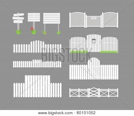 Set of white fences