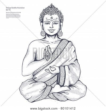 Vintage vector illustration with a meditation pose