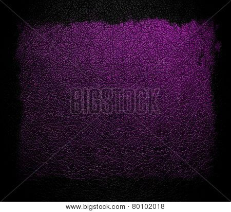 Dark purple leather background or texture with black frame