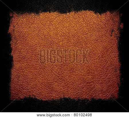 brown leather background or texture with black frame