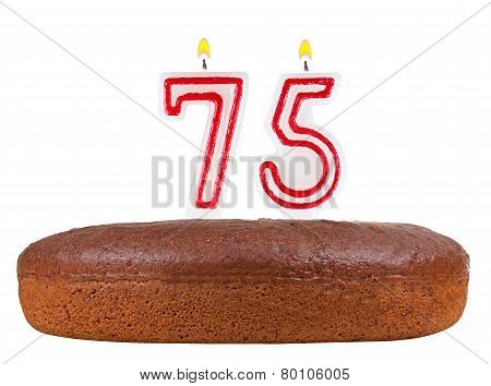 Birthday Cake Candles Number 75 Isolated