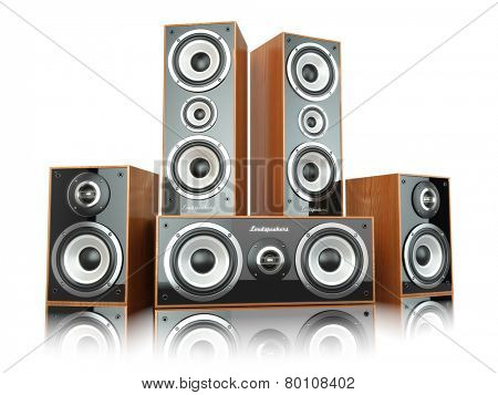 Group of audio speakers. Loudspeakers isolated on white. 3d