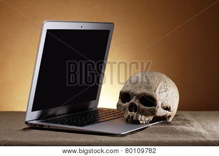Laptop And Skull
