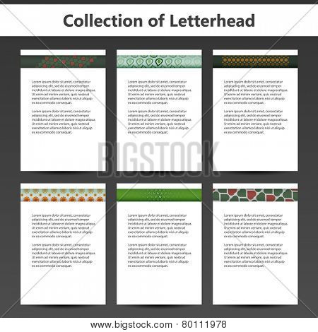 Collection of Letterheads for Your Business - Six Nice and Simple Design Template with Different Patterns