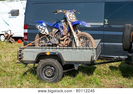 Race Bike After The Competition In Motocross