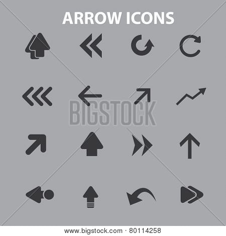 arrow, direction icons, signs, symbols, illustrations set on background, vector