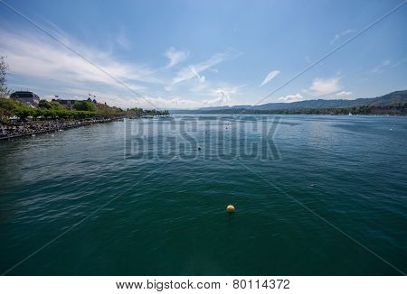 Area Of Water Zurich Lake With Alps
