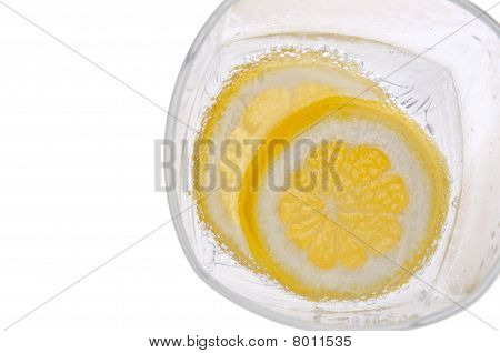 Lemons In Water With Bubbles Border