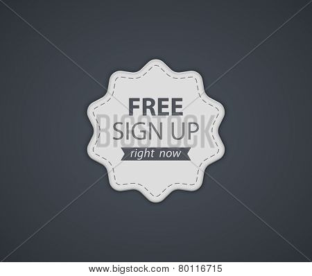 Free Sign Up Label. Vector illustration
