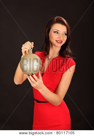 Christmas Girl With Cristal Golden Ball In Her Hand