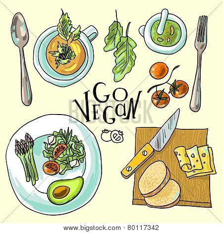 vegetarian food illustration