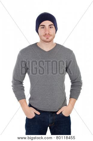 Muscled man with wool hat isolated on a white background