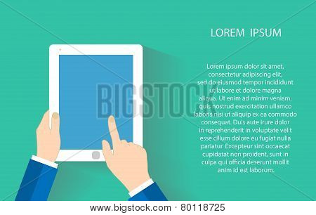 Hand holding a touchpad pc, one finger touches the screen. Vector illustration EPS10