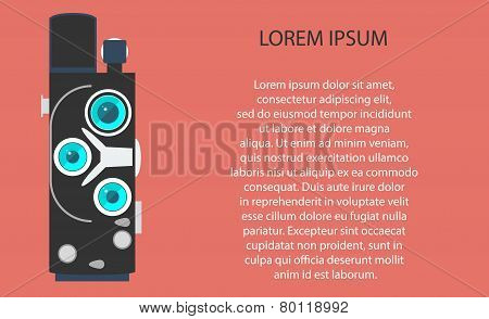 Old movie camera with lens. Vector illustration EPS10
