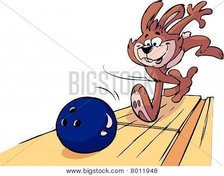 very sporty happy bowling rabbit