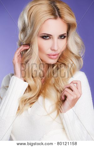 Close-up - a portrait of a beautiful woman.
