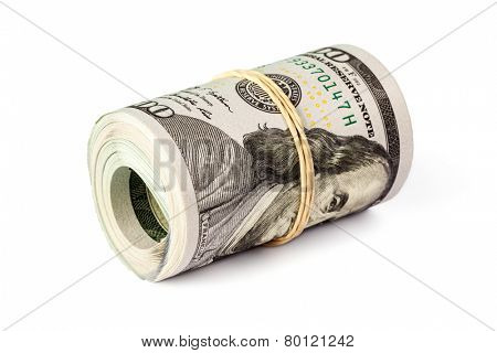 Money stash, finance reserve concept - roll of  hundred dollar bills new 2013 year edition isolated on white