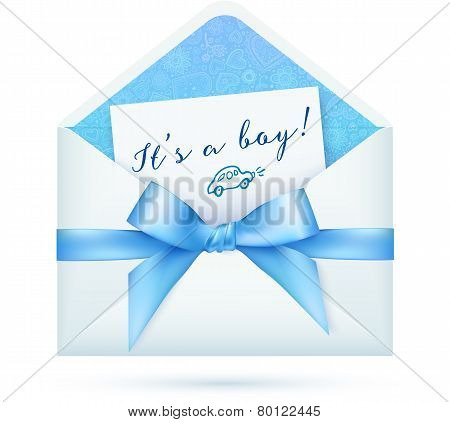 Blue baby shower vector envelop with bow