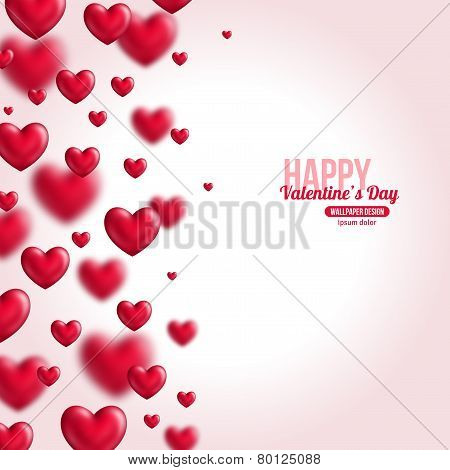 Valentine's day background with shining flying hearts.