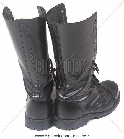 Steel toe black leather boots