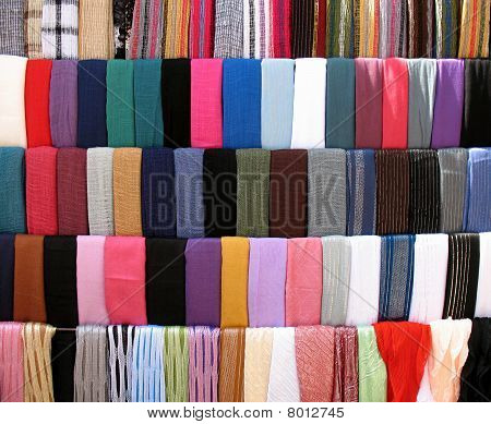 Colorful Cloths Stall at Old Souk