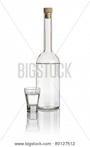Liquor bottle and shot glass filled with clear liquid