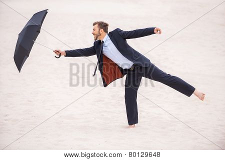Gentleman With Umbrella.