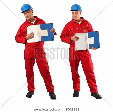 Inspector in red uniform and blue hardhat