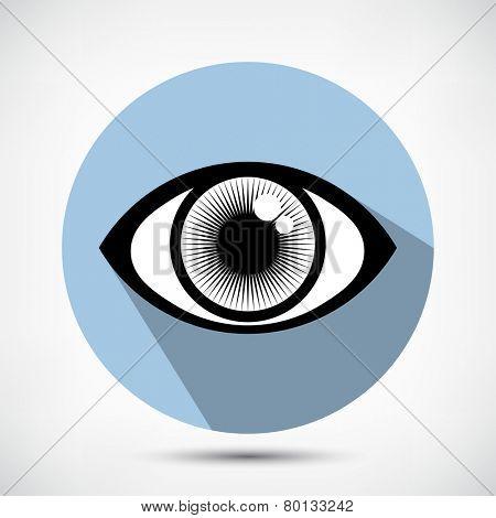 Open Human Eye Icon. Flat style