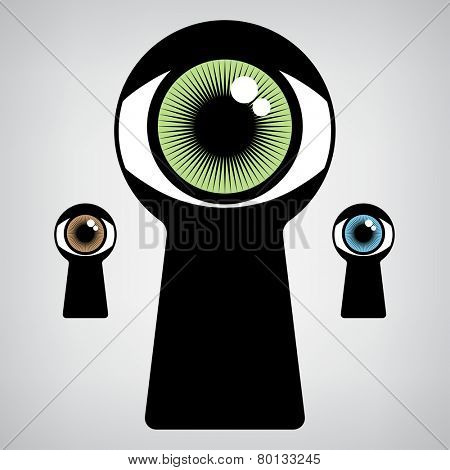 open human eye in keyhole