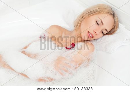 Relaxing In Bubble Bath.