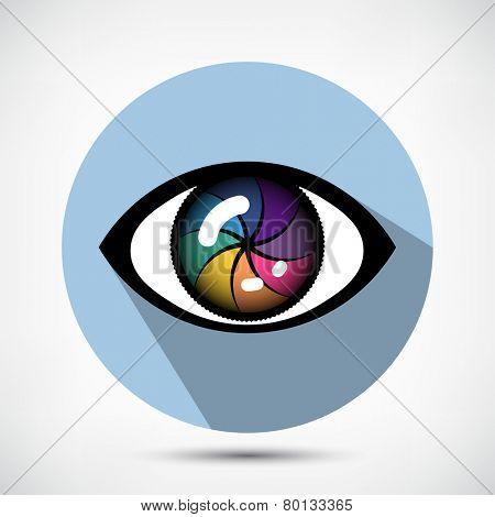 Open Cyber Eye Icon. Flat style