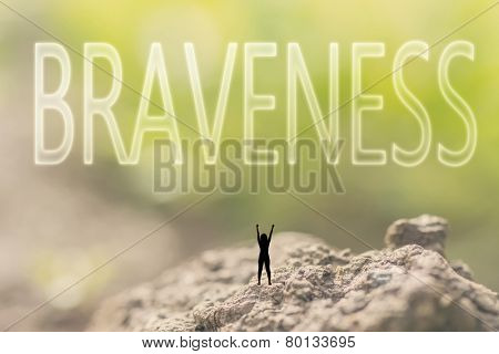 one person stand in the outdoor and looking up text on nature background, concept of courage