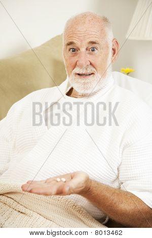 Sick Man Takes Medicine