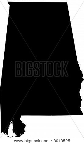 black vector map of Alabama (USA State)