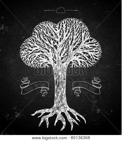 Tree crown in the shape of cloud on black