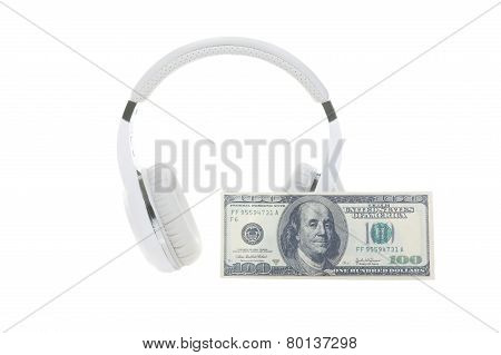 Headphones and banknote