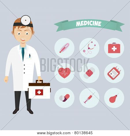Smiling happy male doctor with glasses surrounded by medical icons, vector