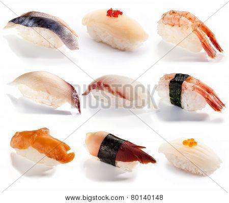 Traditional Japanese food - set of sushi