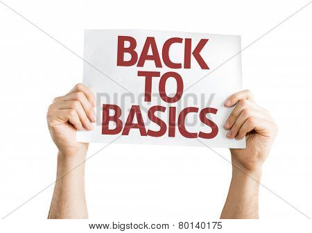 Back to Basics card isolated on white background