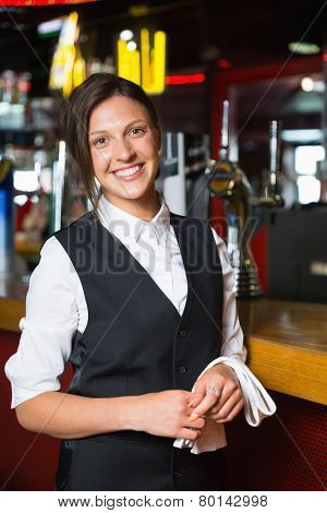 Happy barmaid smiling at camera in a bar