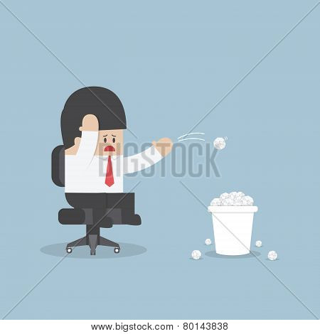 Businessman Have No Idea And Throwing Crumpled Paper To Trash