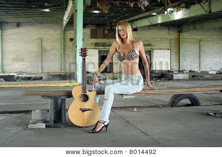 Sexy Blonde with a Guitar (2)
