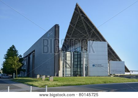 LA ROCHELLE, FRANCE - JUNE 24, 2013: Modern building of university of La Rochellle. The university was founded in 1993, and is the newest university in France